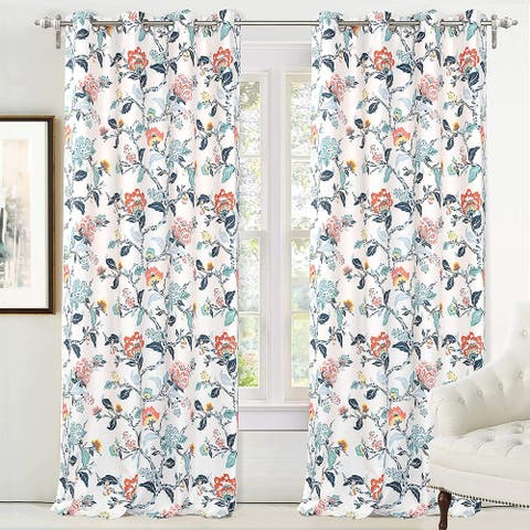 DriftAway Ada Floral Botanical Print Flower Leaf Lined Blackout Window Curtains