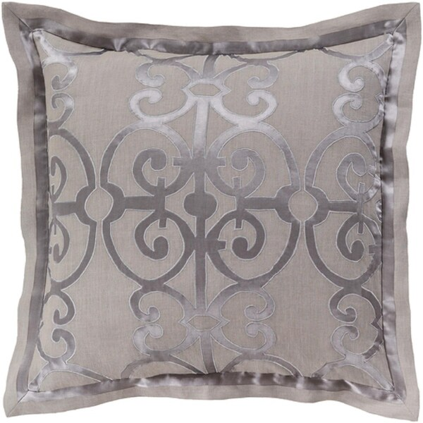 Metallic Silver and Stone Gray Royalty Decorative Linen Euro Sham