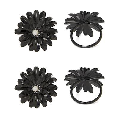 Flower Napkin Rings Set of 12 (Black Pearl)