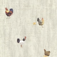 Brewster CTR64211 Lisle Grey Roosters & Script Wallpaper - grey rooster - N/A