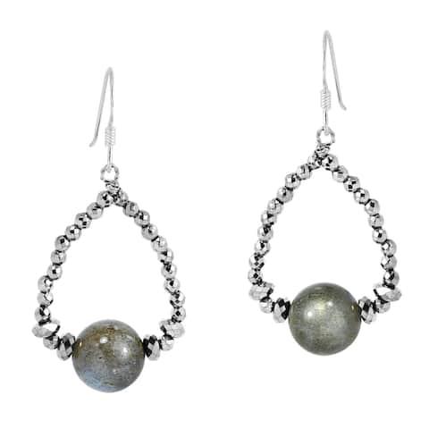 Handmade Metallic Teardrop Beads and Round Labradorite Sterling Silver Dangle Earrings (Thailand)