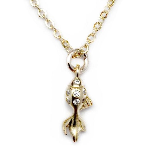 """Julieta Jewelry CZ Goldfish Gold Charm 16"""" Necklace"""