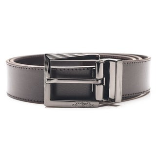Versace Collection Men's Adjustable Stainless Steel Buckle Leather Belt Brown - XL