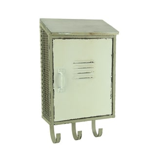 Retro Wall Mounted Wood & Metal Storage Locker w/Hooks 16 in. - 16 X 9 X 4 inches