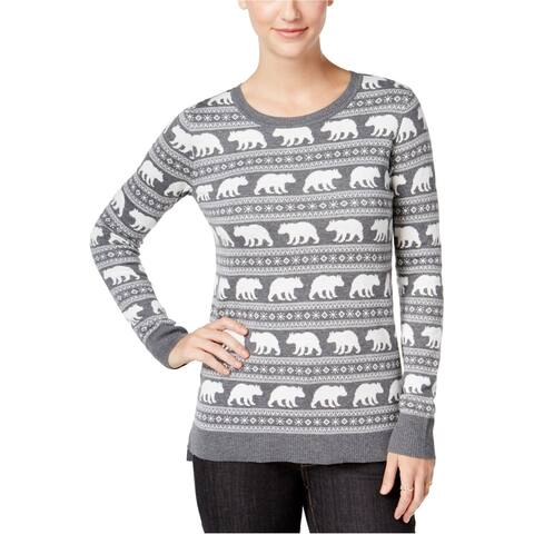 G.H. Bass & Co. Womens Animal Graphic Pullover Sweater, grey, X-Large