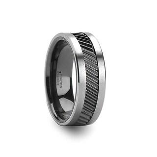 THORSTEN - HELIX Gear Teeth Pattern Black Ceramic and Tungsten Ring - 10mm