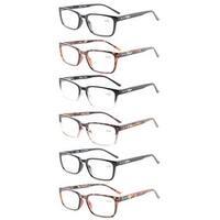 Eyekepper 6-Pack Readers Retro Spring Hinges Reading Glasses+1.75
