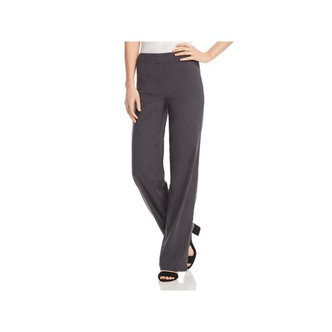 Nic + Zoe Womens Traveling Wide Leg Pants Linen High Rise