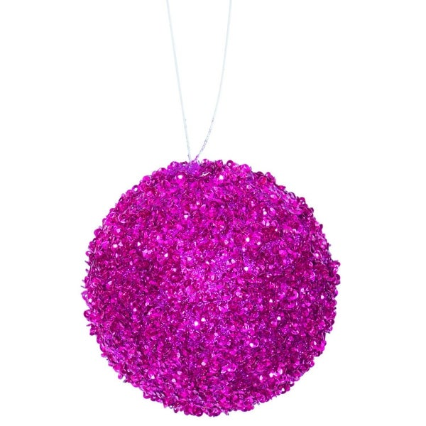 """6ct Bright Fuchsia Sequin and Glitter Drenched Christmas Ball Ornaments 3"""" (80mm)"""