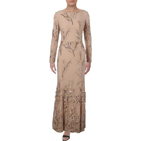 Lauren Ralph Lauren Womens Lilamina Formal Dress Sequined Embroidered