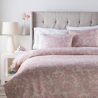 Dusty Rose Pink and Cool Gray Blossom Dreams Linen Decorative King/CA Duvet