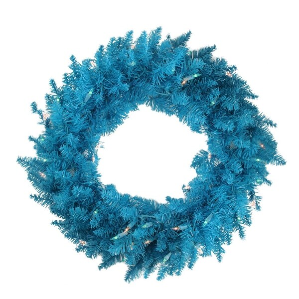 """24"""" Pre-Lit Sky Blue Ashley Spruce Christmas Wreath - Clear & Blue Lights"""