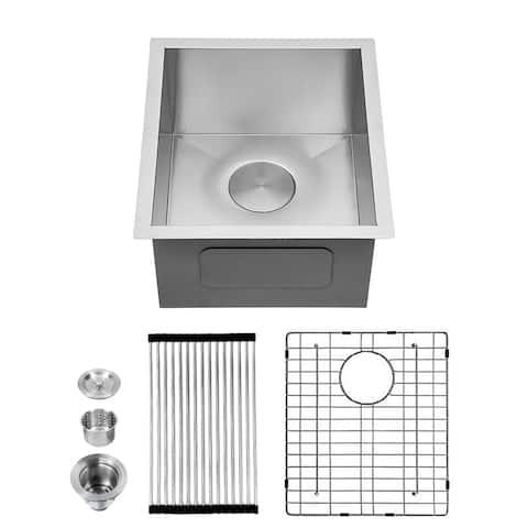 """15""""x 17"""" Bar Prep Sink Undermount 18 Gauge Stainless Steel Deep Single Bowl Kitchen Sink RV Sink Basin"""