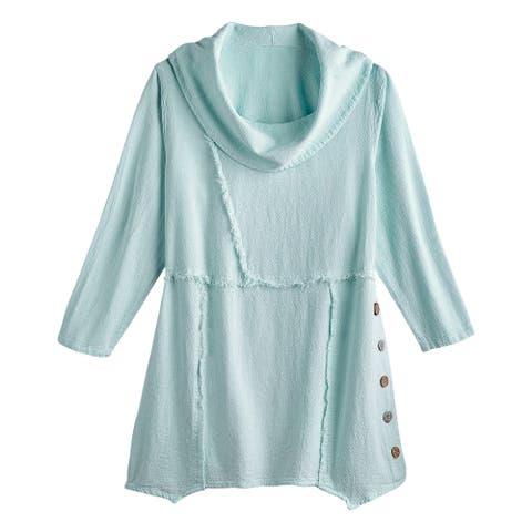 Sea Breeze of California Women's Frayed Seams Tunic Top, Cowl Neck 3/4 Sleeve