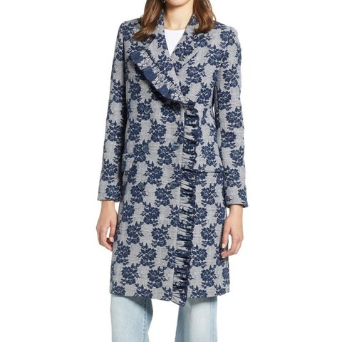 Halogen Women's Medium Floral Printed Ruffled Coat