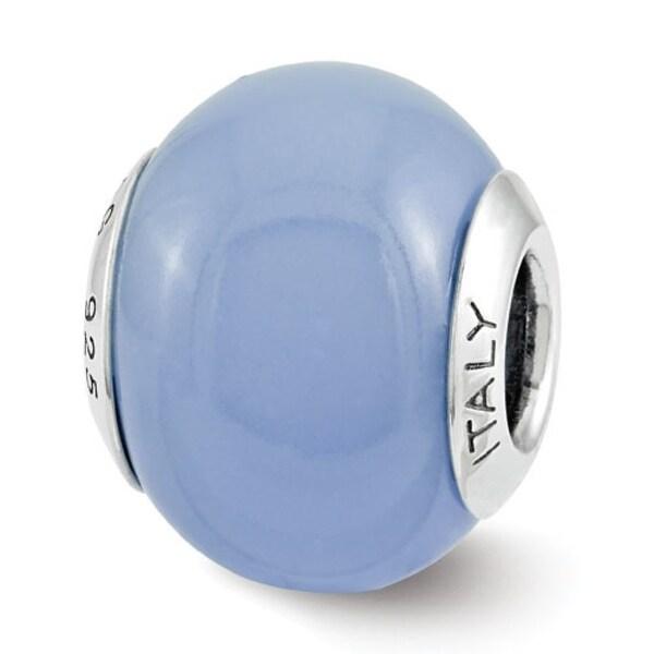 Italian Sterling Silver Reflections Blue Glow-in-the-Dark Bead (4mm Diameter Hole)