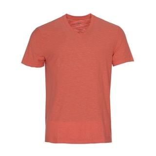 Calvin Klein Jeans Cotton Slub V-Neck T-Shirt Spiced Coral Orange Medium M