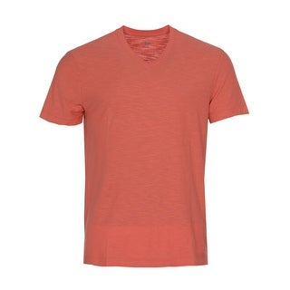 Calvin Klein Jeans Cotton Slub V-Neck T-Shirt Spiced Coral Orange Medium M
