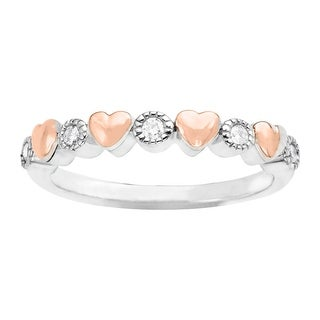 1/10 ct Diamond & Heart Band Ring in Sterling Silver & 14K Gold