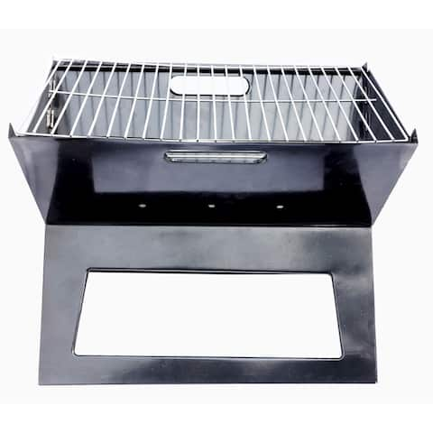 The Your Choice Portable Triangle Folding Charcoal Grill for Camping, Grilling, Tailgating, Hiking, and parties. Black