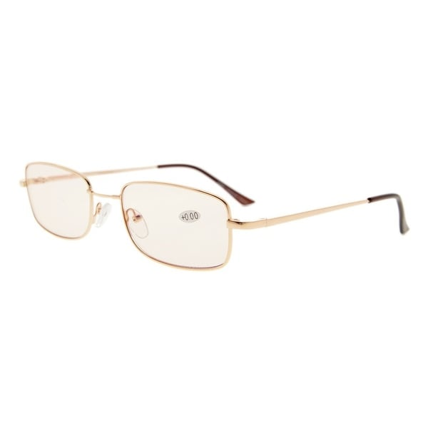 Eyekepper Bridge-flex Memory Titanium Mens Womens Spring Hinges Eyeglasses Gold(Amber Lens, +1.50)