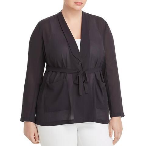 Nic + Zoe Womens Breeze Through Blazer Sheer Two Button - Midnight