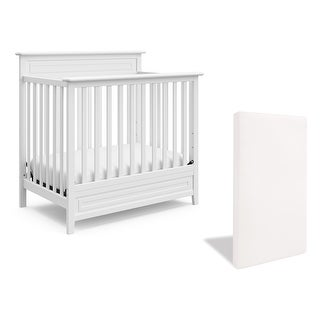 Storkcraft Petal 5-in-1 Convertible Mini Crib with Bonus Mattress - Water-Resistant Cover, JPMA Certified, 1-Year Warranty