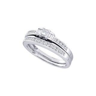 14k White Gold Princess Baguette 3-stone Natural Diamond Womens Wedding Bridal Ring Set 1/2 Cttw