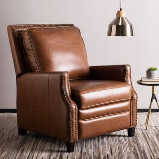 Safavieh Couture Buddy Leather Nailhead Trim Recliner