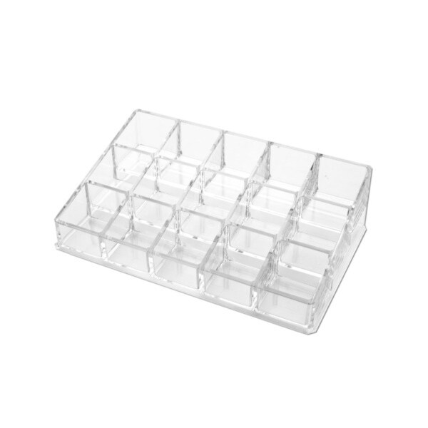 """Pack of 4 Clear Multi Cell Rectangular Cosmetic Organizers 8"""" - N/A"""