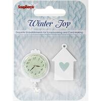 Scrapberry's Winter Joy Metal Embellishments 2/Pkg-#1, Clock & House Charm