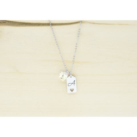 Dainty Initial Frame Necklace Made With Precision Cut Crystal By Pink Box - A