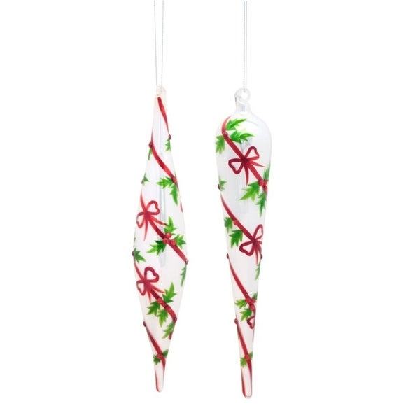 """Club pack of 12 Embellished Holly and Berry Finial Christmas Glass Ornament 10.25"""" - WHITE"""