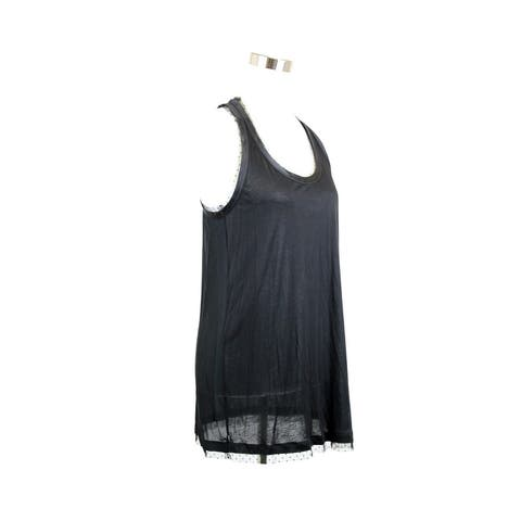Gucci Women's Jersey Racerback Black Viscose Tank with Silk Tulle Detail 324684 1000