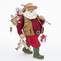 "11"" Vintage Inspired Santa Claus Fisherman Christmas Tabletop Figurine - RED"