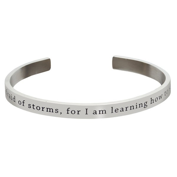 Women's Famous Women's Quotes Cuff Bracelet - Not Afraid Of Storms - Louisa May Alcott