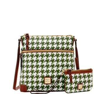Dooney & Bourke Houndstooth Crossbody & Med Wristlet (Introduced by Dooney & Bourke at $248 in Dec 2016) - Green