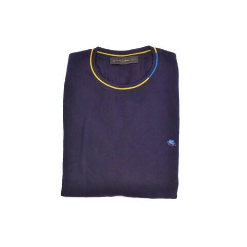 Etro Dark Purple Pure Wool Duo Tone Border Crew Neck Sweater