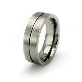 Matte Titanium Ring with Grooved Center