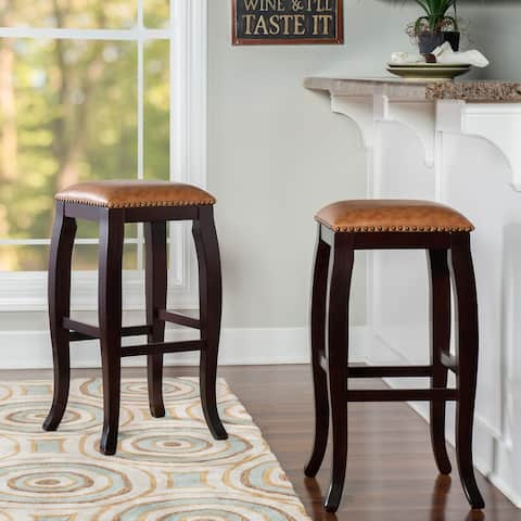 Linon Pinnacle Backless Bar Stool Caramel Seat