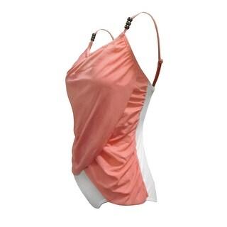 One Piece Front Draped Adjustable Strap Swim in Peach/White Combo
