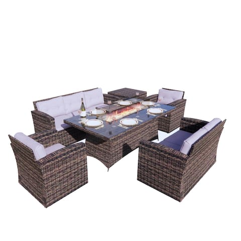 Patio Furniture Wicker Sectional Sofa Set Wish Fire Pit Dining Table