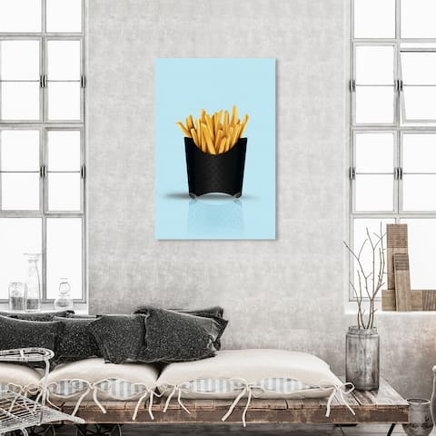 Oliver Gal 'Louis French Fries Turquoise' Fashion and Glam Wall Art Canvas Print Fast Food - Blue, Black