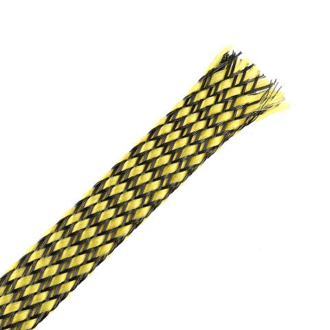 3ft - 1/2 inch PET Expandable Braided Sleeving Braided Cable Sleeve Yellow 4PCS