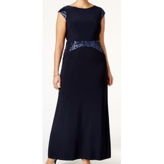 Betsy & Adam NEW Blue Womens Size 20W Sequined Trim Cowl-Back Plus Gown