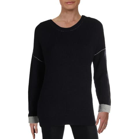 Olive & Oak Womens Pullover Sweater Drop Sholder Piping - Navy/Light Heather Grey - M