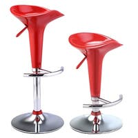 Costway Set of 2 Modern Bombo Style Swivel Barstools Adjustable Counter Chair Bar Stools (Red)