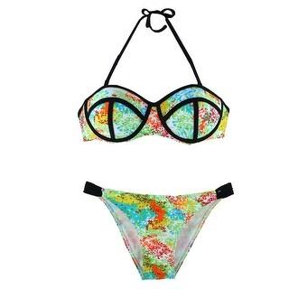 Padded Bra Summer Tankini Swimsuit Two-piece Bathing Suit Bikini Set Colorful S