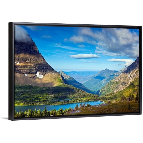 Shop Black Friday Deals On Hidden Lake Overlook At Morning Glacier National Park Black Float Frame Canvas Art Overstock 25507719