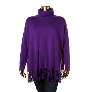 Lauren Ralph Lauren Womens Wool Fringe Turtleneck Sweater